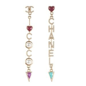 Chanel Resin CC Long Drop Earrings Gold Multicolor